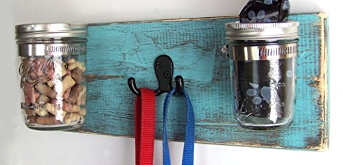 Dog Accessories by Out Back Craft Shack: Wall Mounted Treat Jar / Leash Holder / Poop Bag Dispenser (Leash Wooden Hand Holder Painted)