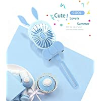 OKEE Mini Handy/Desktop Portable Fan, Personal Hand-held Rabbit Fan,USB Rechargeable Fan (Blue)