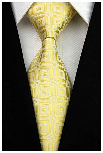 Veegood Men's Classic Jacquard Woven Silk Tie Plaid Striped Yellow Necktie for Men Party Suit Z02