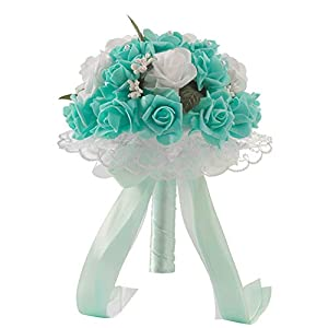 SIUONI Elegant Bride Holding Bouquet Romantic Rose Pearl Crystal Wedding Bride/Bridesmaid Bouquet Satin Flower(Tiffany Blue) 49