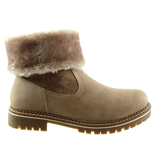 Block Fashion CM high 5 material topstitching fur Ankle heel 3 Shoes seams bi Beige boots finish Women's biker Angkorly Booty 4CqUR5Cx