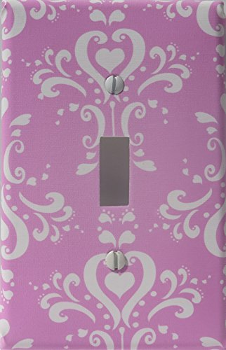 Pink Damask Light Switch Plate / Pink Damask Nursery Wall Decor (Single Light Switch Plate Cover) by Presto Light Switch Covers
