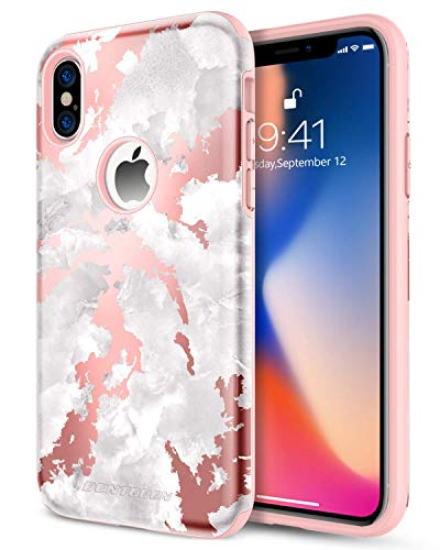 BENTOBEN Dual Layer Heavy Duty Protective Shockproof Rugged Bumper Cute Girl Women Phone Case Cover with Marble Design for iPhone XS 2018 / X 2017 (5.8 Inch) - Rose Gold / Pink