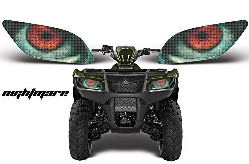 AMR Racing ATV Headlight Eye Graphic Decal Cover for Suzuki King Quad 500 AXi 13-15 - Nightmare (Quad Suz King)