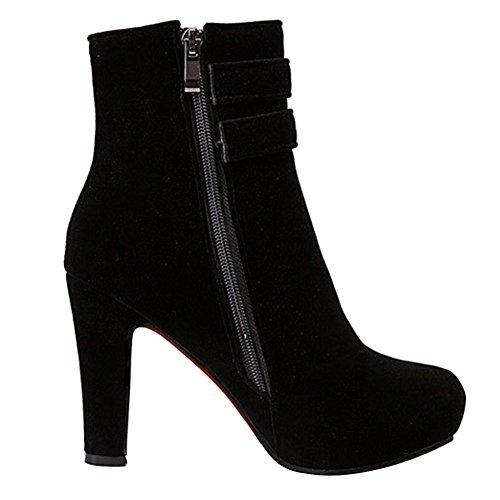 Camoscio Boots Nero con Caviglia Inverno Autunno Eleganti Tacco High Scarpe Donna Zip Heels Invernali Stivali Stivaletti Platform 0PqHTH