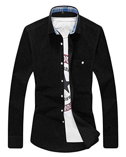 GAGA Men's Casual Long-sleeved Corduroy Button Shirt Black 4XL Corduroy Long Sleeved Shirt
