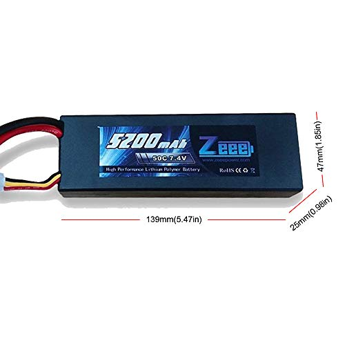 Zeee 2s Lipo Battery 7.4V 50C 5200mAh RC Lipo Batteries Hard Case with Dean-Style T Connector for RC Vehicles Car,Trucks(2 Pack) by Zeee (Image #2)