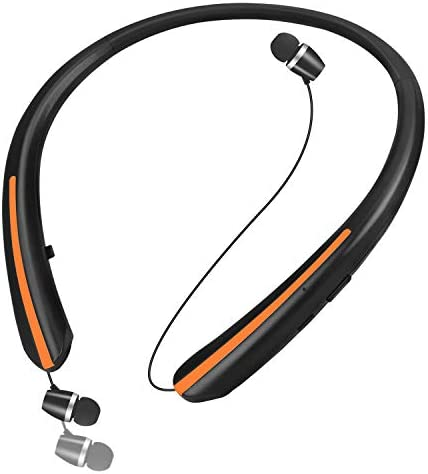 Bluetooth 5.Zero Headphones, Retractable Earbuds Wi-fi Headset Noise Canceling Stereo Neckband Sports activities Earphones with Mic for iPhone/Samsung/Android by LINYY [2020 Upgraded, 20h Playtime] (Orange)