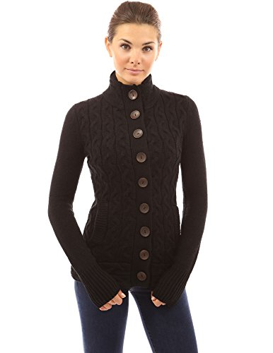 - PattyBoutik Women Mock Neck Cable Knit Cardigan (Black X-Large)