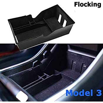 SUMK Tesla Model 3 Center Console Organizer Tray with Coin Card Sun Glasses Box Insert Armrest Storage Holder for Tesla Model 3 Accessories Black Updated Black Black with lint