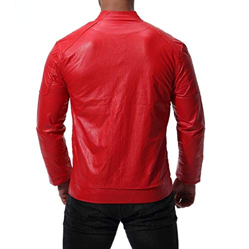 Pu Leather Solid Collar Zips Jacket Stand EnergyMen 1 with Oversize Thickening w0xPS57Rq
