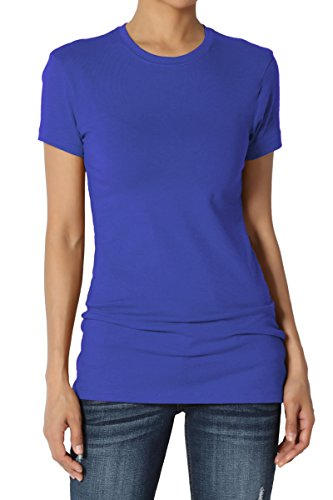 (TheMogan Women's Basic Crew Neck Short Sleeve T-Shirts Cotton Tee Royal Blue S)