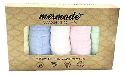 (Mermade Baby Muslin Washcloths - Super Soft Baby Cloths - 5 Pack Set (12x12 Inch, 9-Ply, Natural)