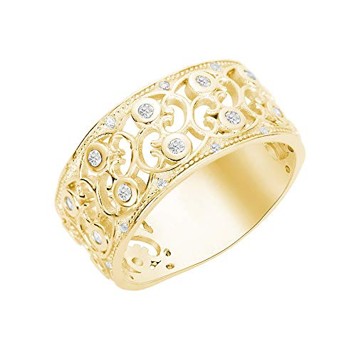 CloseoutWarehouse Cubic Zirconia Pave Filigree Ring Yellow Gold-Tone Plated Sterling Silver Size 7 -