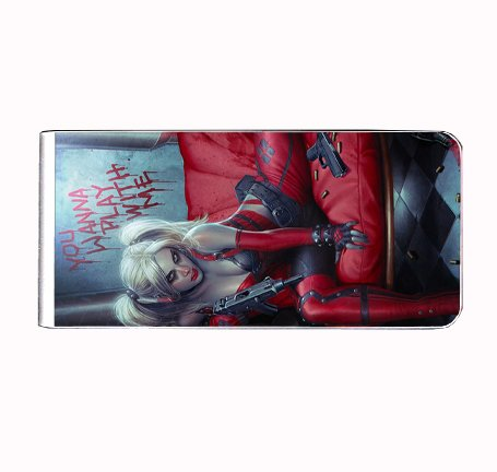 Quinn Purse Bag - Harley Quinn Wanna Play With Me Sexy Comic Book Money Clip Rectangle