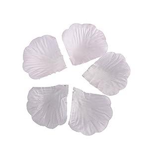 BESTOYARD 10 Pack Fake Rose Petals Artificial Wedding Flower Decoration (Pure White) 25