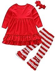 OVERDOSE Mädchen Outfits Kleidung Set, Kleinkind Baby Mädchen Schmetterlings Hülsen Blusen Oberteil Tops Kleid + Gestreift Streifen Hosen 3PCS Outfits