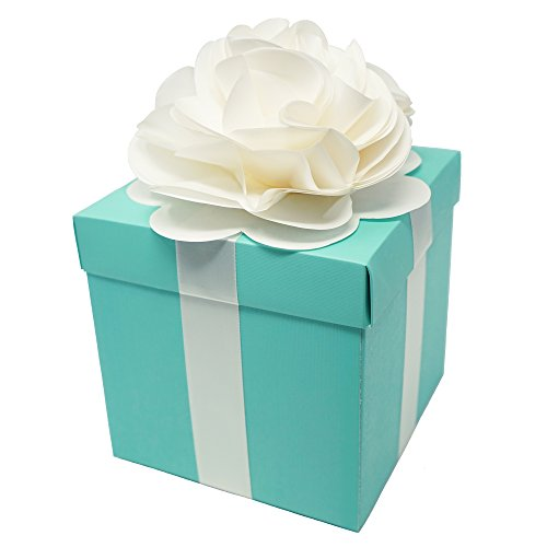 Robin Egg Aqua Blue Wedding Centerpiece Favor Box with Lid & Self Adhesive Satin Ribbons & Ivory Tissue Paper Flower Bow (1 Count)