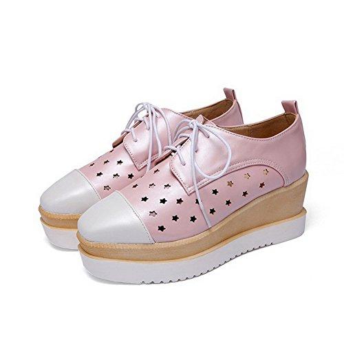 Allhqfashion Dames Vierkante Dichte Neus Kitten Hakken Assorti Kleur Veterd Pumps-schoenen Roze