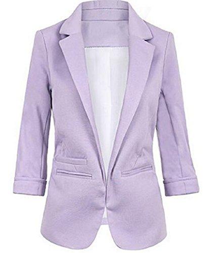 - Faddish Women's Cotton Basic Boyfriend Ponte Rolled Blazer Jacket Suits Purple M