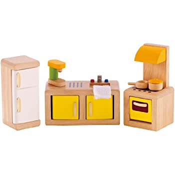 Amazoncom Hape Wooden Doll House Furniture Kitchen Set with