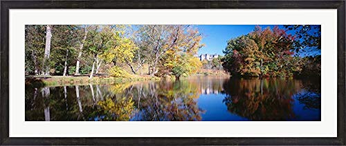 Reflection of Trees in a Lake, Biltmore Estate, Asheville, North Carolina by Panoramic Images Framed Art Print Wall Picture, Espresso Brown Frame, 49 x 21 inches -
