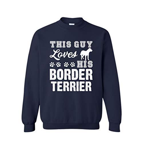 Loves Border Terrier Sweatshirt, Crewneck Sweatshirt, Gift (L,Navy) ()