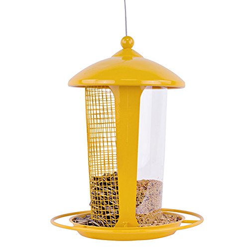 Dual Outdoor Hanging Wild Bird Seed Feeder, Weather-Proof Transparent Tube And Mesh Two-Layer, Birds In Your Backyard Garden ()