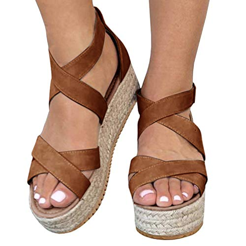XMWEALTHY Women's Platform Wedges Heel Sandals Summer Strappy Open Toe Espadrilles Sandals Brown US 6.5 Double Criss Cross Sandal