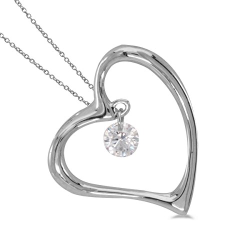 0.08 Carat (ctw) 14k White Gold Round Diamond Women's Movable Open Heart Pendant with 18