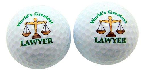 Worlds Greatest Lawyer Set of 2 Novelty Golf Ball Fun Golfing Gag Gift