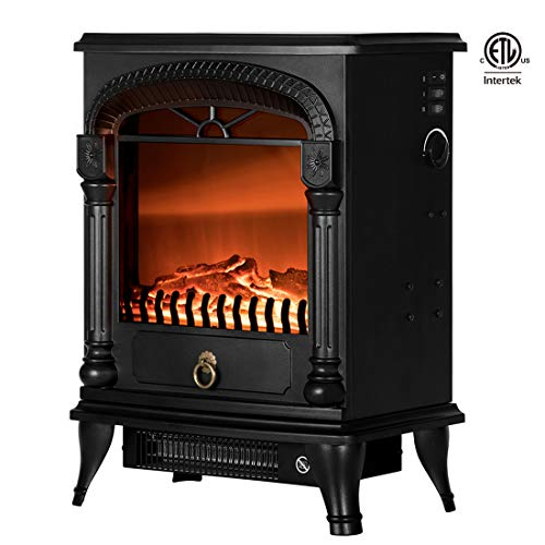 VIVOHOME 110V 20 Inch Portable Electric Fireplace Stove Heater with Flame Effect ETL Listed ()