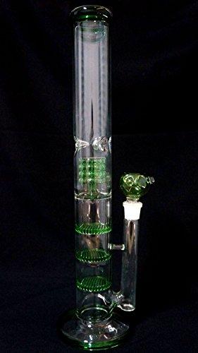 Rora Straight Glass Bongs Honeycomb - Height 17in Three Layers Percolator...