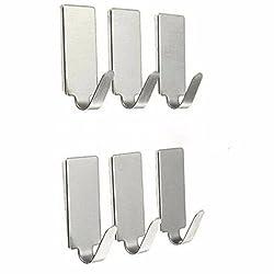 6X Adhesive Kitchen Wall Door Stainless Steel Stick Hook Hanger