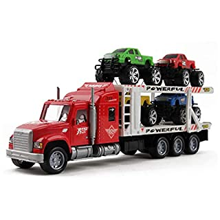"Vokodo Friction Powered Toy Semi Truck Trailer 14.5"" With Four Lifted Pickup Cars Kids Push And Go Big Rig Carrier 1:32 Scale Auto Transporter Semi-Truck Play Vehicle Great Gift For Children Boys Girl"