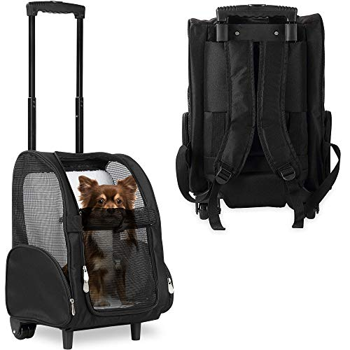 KOPEKS Deluxe Backpack Pet Travel Carrier with Double Wheels – Black – Approved by Most Airlines