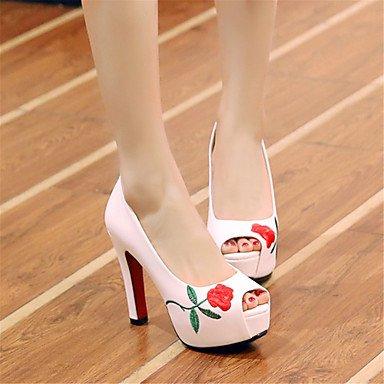 LvYuan Mujer-Tacón Robusto-Otro Zapatos del club Innovador-Sandalias-Boda Informal Vestido-Materiales Personalizados Semicuero-Negro Rojo Blanco White