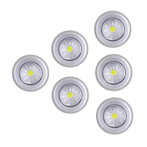 Battery Powered Tap Light Push Light, Bright Stick on Led Touch Night Light for Closet, Cabinet, Trunk, White Light 6-Pack