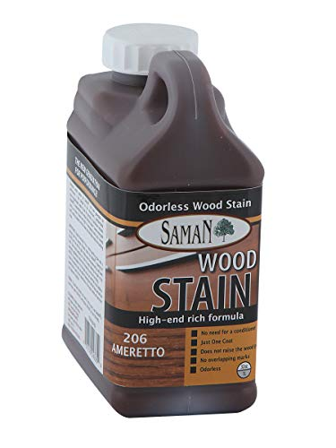 SamaN TEW-206-32 1-Quart Interior Water Based Stain for Fine Wood, - Stain Amaretto