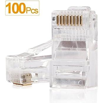 SHD RJ45 Connectors RJ45 Crimp Ends 8P8C UTP Network Plug CAT5 CAT5E CAT6 Stranded Cable Solid Crystal Head 100PCS