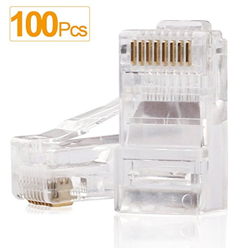 SHD RJ45 Connectors RJ45 Crimp Ends 8P8C UTP Network Plug for CAT5 CAT5E CAT6 Stranded Cable Solid Crystal Head 100PCS - Head Solid Plug