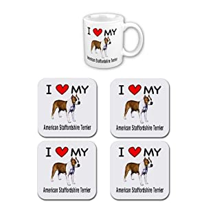 I Love My American Staffordshire Terrier Coffee Cup with Matching Coaster Set 4