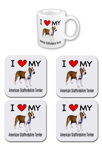 I Love My American Staffordshire Terrier Coffee Cup with Matching Coaster Set 1