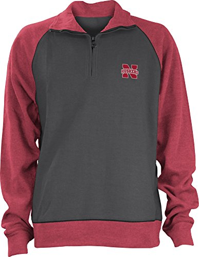 Three Square by Royce Apparel NCAA Nebraska Cornhuskers Men's Dexter One X One Rib Pullover, Medium, (Nebraska Logo Square)