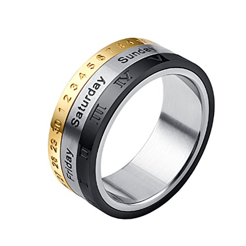 PAURO Men's Stainless Steel Arabic and Roman Numerals Engraved Spinner Ring Gold Silver Black Size 11 (Personalized Arabic Rings)