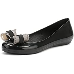 Zaxy Womens Black Bow Pop Charm Ballerina Flats-UK 6