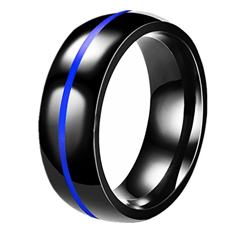 LIANTSH Black Stainless Steel Thin Middle Line Centre Polished Finish Wedding Band Ring for Men/Women-8mm-With Free Gift Box