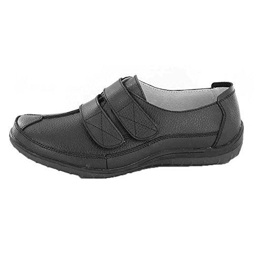 Down To Earth Damen Schuhe mit Klettverschluss Weiß Leder
