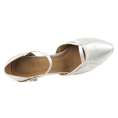Gold Pigeon Shoes Party Party Wedding Shoes, Comfort Evening Dress Pumps: Women Heel Ballroom Dance Shoes 3540- White Satin