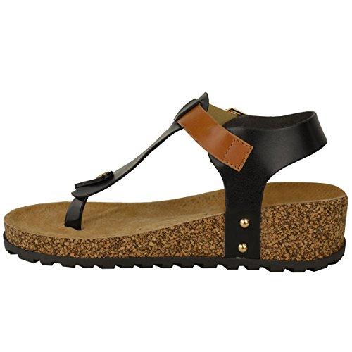Mode Coin Simili Flops De Noir Sandales Rembourré Taille Nouvelles Semelle De Cuir Flip Confort Assoiffés Dames Chaussures Intérieure Z0wrZq